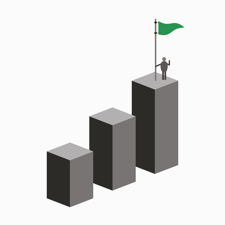 Businessman holding a flag on top of the column graph. Business concept of goals, success, achievement and challenge
