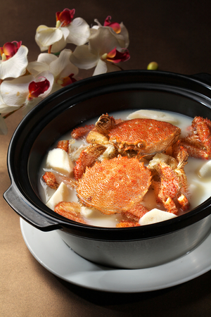 yam: Yam cooked red crabs soup