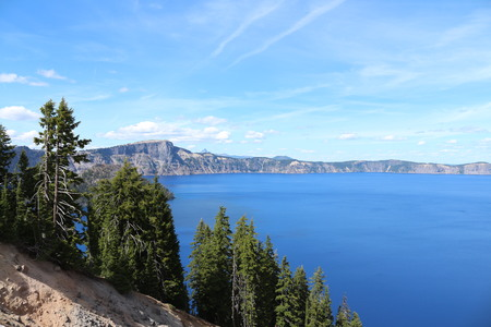 crater lake: Crater Lake And Blue Sky