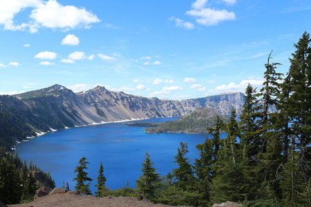 crater lake: Crater Lake With Snow In July