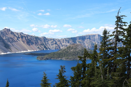 crater lake: Crater Lake View Stock Photo