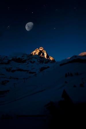 moon on the matterhorn photo