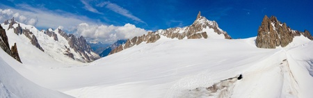 Mont Blanc massif. panorama of the Italian Alps photo