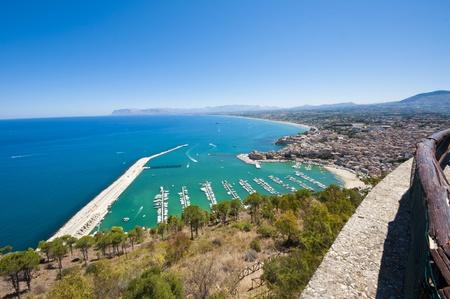 castellammare del golfo: panoramic views of the Sicilian coast. Castellammare del Golfo. Stock Photo