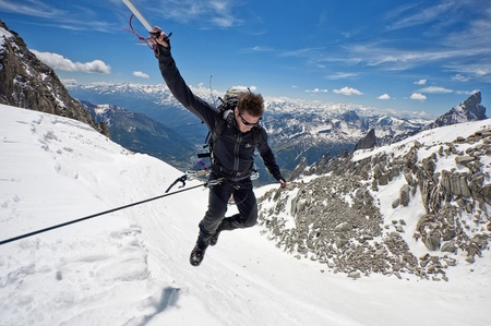mountaineer on a Italian glacier  Mont Blanc Massif, Italian Alps  photo