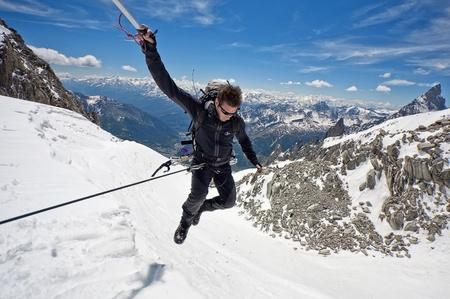 mont: mountaineer on a Italian glacier  Mont Blanc Massif, Italian Alps  Stock Photo