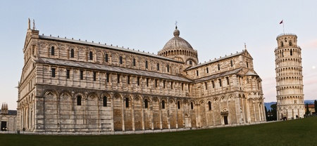 Pisa, Piazza dei miracoli, with the Basilica and the leaning tower. photo