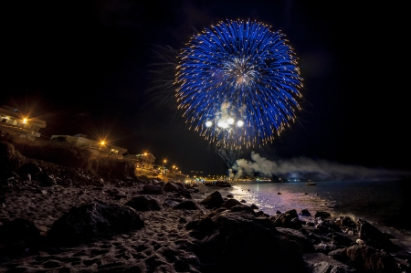 Colorful fireworks reflect from water photo