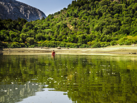 horsetooth rock: a day in canoa in the Cedrino, river of sardinia.
