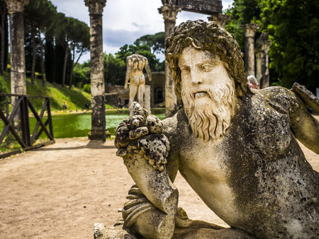 hadrian: Ancient ruins of Villa Adriana, residence of the emperors of Rome. Stock Photo