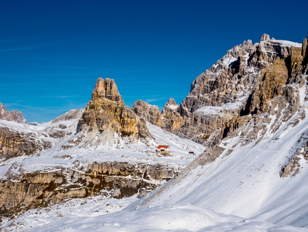 Dolomites. panorama of the Italian Alps Stock Photo
