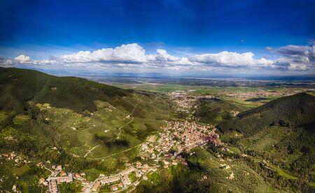 beautiful panorama of Buti in Tuscany, shot taken by drone.