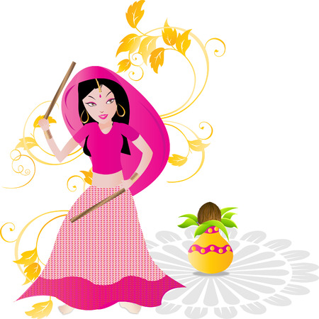 radha: Indian traditional girl playing Dandiya Garba Dance Illustration