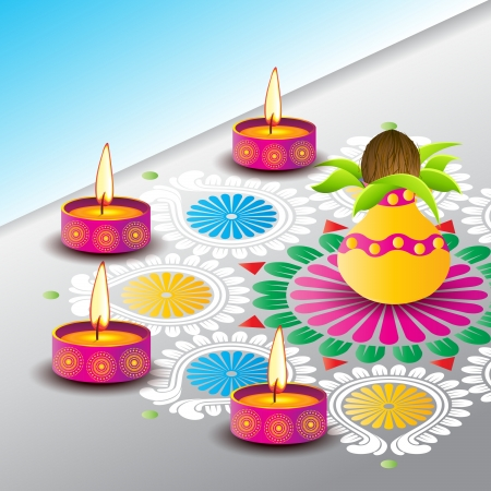 Diwali Diyas surrounding kalash and rangoli Vector