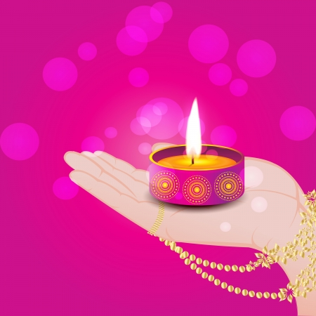 Diya in Hand Stock Vector - 24233605