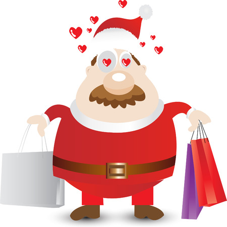 winter solstice: Middle-aged man in Santa Claus costumes loves shopping for Christmas