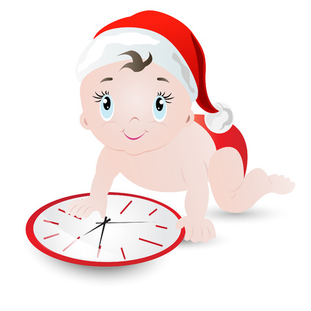 cant: I cant wait for Christmas- Toddler wearing Christmas cap crawling to change time in clock for Christmas to come soon.