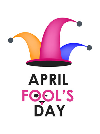 April fools day with hat illustration on white background.