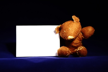 cuddly: small decorative teddy bear holding a white blank card against dark blue background