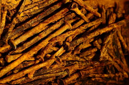 rusty nail: a pile of badly rusted nails