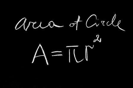 mathematical proof: area of circle formula hand written on the blackboard