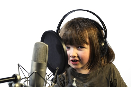 little girl recording her speach photo