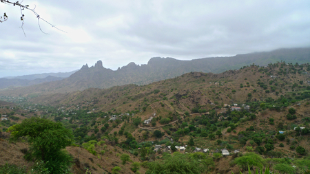 santiago cape verde: View over the valley and steep mountain ranges, Picos, Santiago Island, Cape Verde Stock Photo