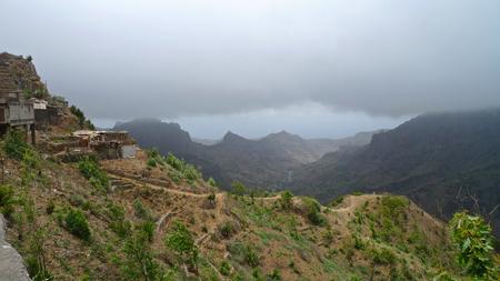 Tiny houses clinging to the hillside, Santiago Island, Cape Verde