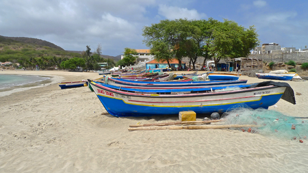 santiago cape verde: Return of the colored fishing boats on the beach, Tarrafal, Santiago Island, Cape Verde