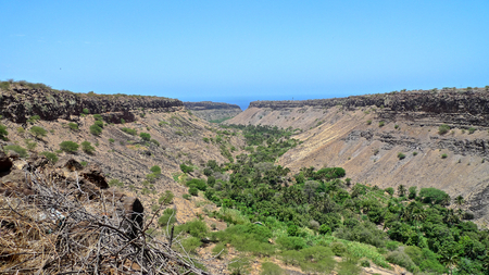 ribeira: View over the green and fertile valley of Ribeira Grande, Santiago Island, Cape Verde