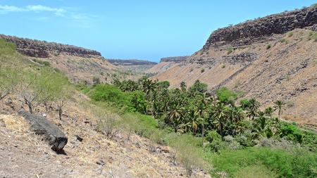 uplands: View over the green and fertile valley of Ribeira Grande, Santiago Island, Cape Verde