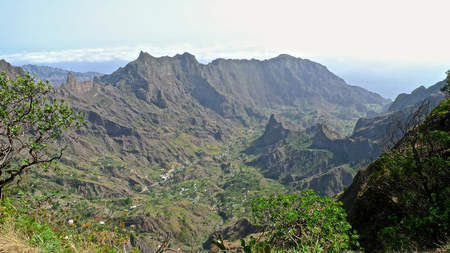 abrupt: View over the valley, moutains and deep canyons, Ribeira da Torre valley, Santo Antao, Cape Verde