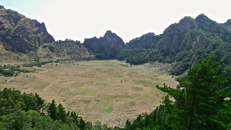 View over a cultivated crater of an inactive volcano, Santo Antao, Cape Verde