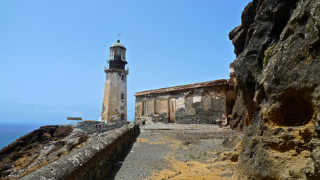 Ruined lighthouse above the sea, Santo Antao, Cape Verde