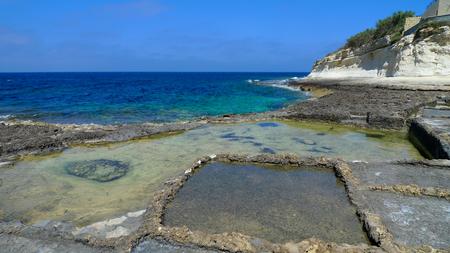 mediterranean culture: Traditional salt fields, salt pans, Malta