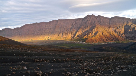 Slopes of Pico do Fogo volcano and lava fields, cha da caldera, Sao Filipe, Fogo, Cape Verde Stock Photo