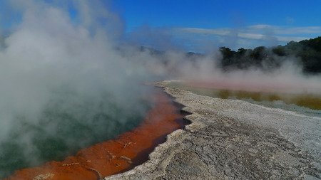 hot water geothermal: Waiotapu colorful waters, Rotorua, New Zealand Stock Photo