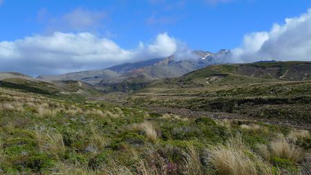 Mount Ruapehu volcano in the clouds, Tongariro National Park, New Zealand