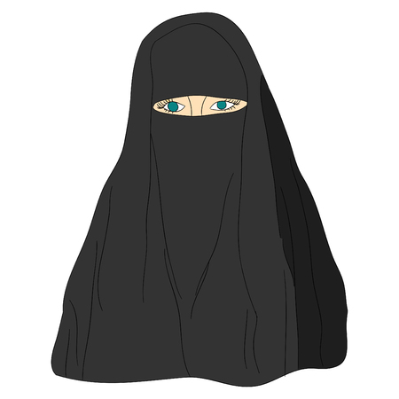 niqab: Young beautiful Muslim woman in black hijab