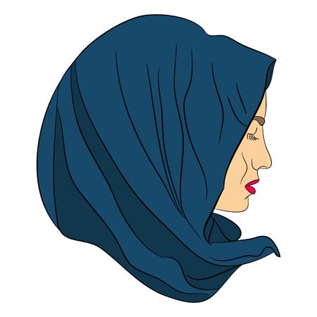 headscarf: muslim girl dressed in colored hijab, Muslim headscarf