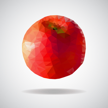 apple red: low poly red  apple, red apple with triangles Illustration