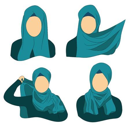 headscarf: muslim women, instructions on how to wear the Muslim hijab headscarf Illustration