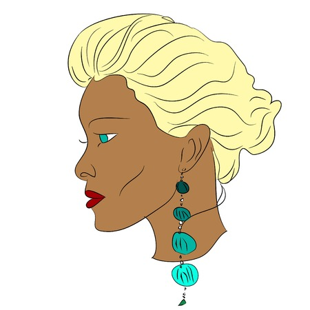 blonde teenage girl: young african woman, young beautiful blonde with pierced ears Illustration