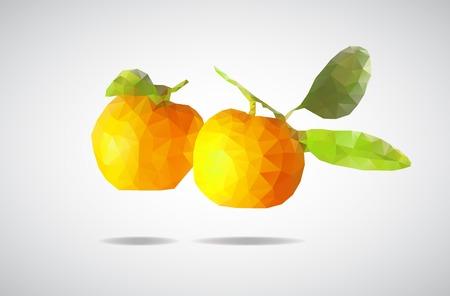 mandarins: low poly mandarin, beautiful Mandarin of triangles