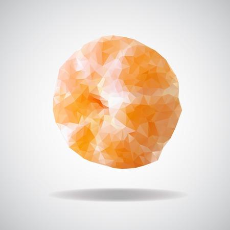 fruitage: low poly mandarin, beautiful Mandarin of triangles