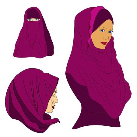 niqab: muslim girl dressed in colored hijab, Muslim headscarf