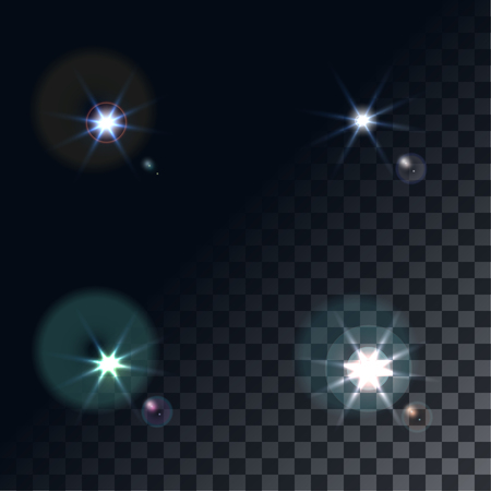 blue star background: bright flash of light. Star in space. Bright vector shine. realistic len flare beam and flash on transparent background vector illustration. camera flash, flashlight. glowing stars, lights  sparkles. Illustration