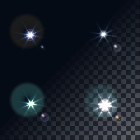 lucero: destello de luz brillante. Estrellas en el espacio. brillo brillante del vector. realista haz len llamarada y el flash en la ilustración del vector del fondo transparente. flash de la cámara, linterna. estrellas brillantes, luces de destellos.