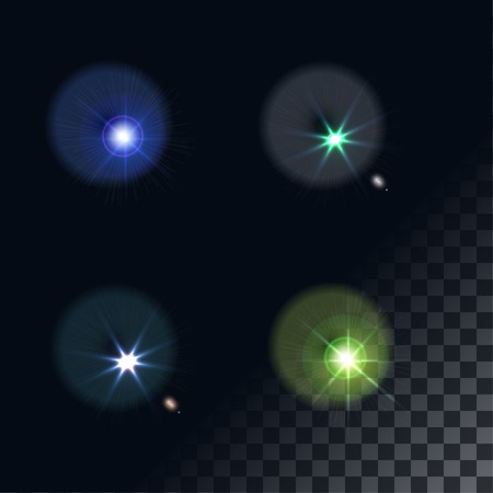 len: bright flash of light. Star in space. Bright vector shine. realistic len flare beam and flash on transparent background vector illustration. camera flash, flashlight. glowing stars, lights  sparkles. Illustration