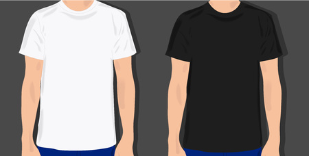 white shirt: set male t shirts, realistically painted T shirt on young man Illustration